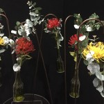 Glass Bottles with Native Flowers