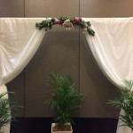 White Curtin Archay with Native Florals