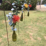 Rustic Shepherd Hooks with Glass Bottles Native Florals