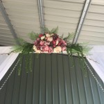 White Curtain Archway with Floral Arrangement